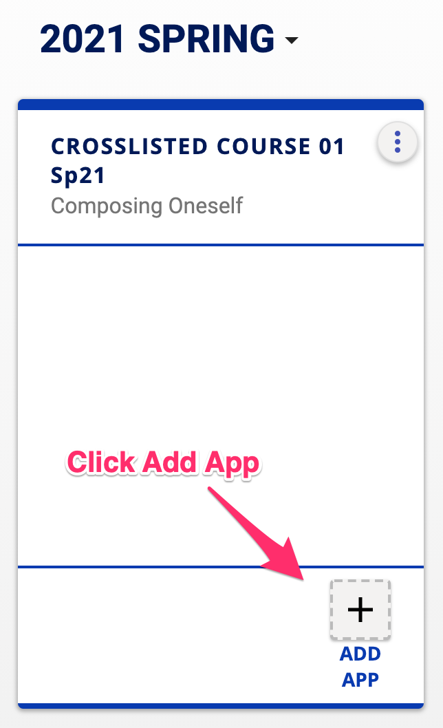 Kit for crosslisted course with Add App button