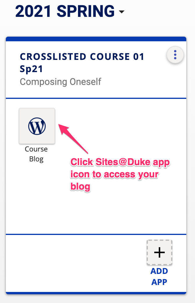 Crosslisted course kit with Sites@Duke icon